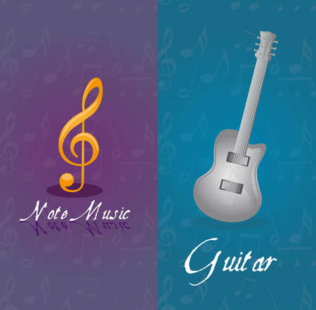 music notes and guitar over blue and violet vector illustration Stock Vector - 11897255