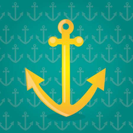 yellow anchor over green background vector illlustration Vector
