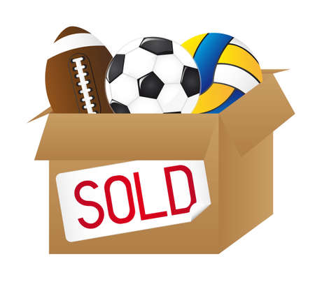 sold box with balls isolated over white background. vector Stock Vector - 11891624