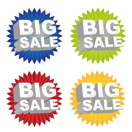 colorful big sale tags isolated over white background. vector Stock Vector - 11897249