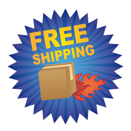 blue free shipping tag with fire box isolated vector illustration Vector