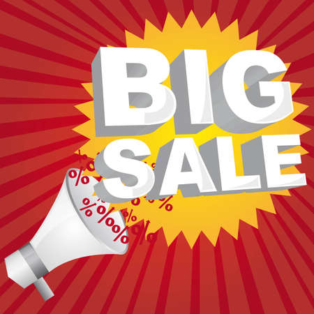 yellow big sale tag  with megaphone over red background vector Stock Vector - 11897225