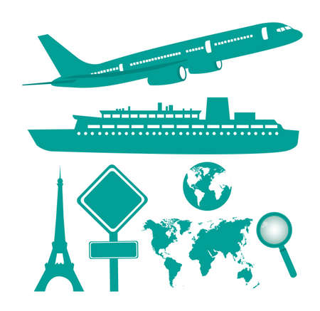 plane, ship and travel icons isolated over white background vector Vector