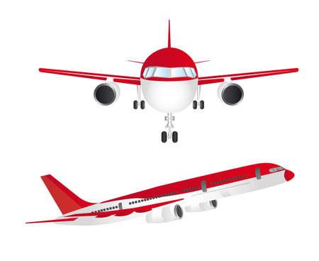 view from the plane: aviones de rojo y blanco aislado sobre fondo blanco. vector