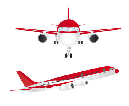 oorkonde: rode en witte vliegtuigen die over een witte achtergrond. vector Stock Illustratie