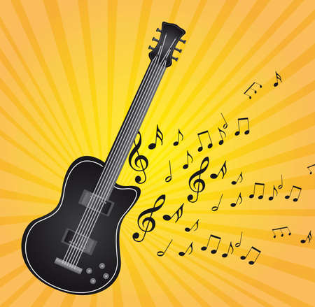 orchestration: black guitar with music notes over yellow background vector Illustration