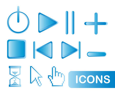 blue icons web isolated over white background. vector Vector