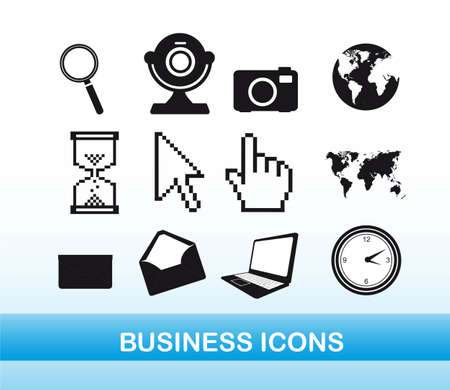 black and white business icons over blue background. vector Stock Vector - 11897257