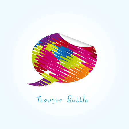 colorful thought bubble over blue background. vector Stock Vector - 11897215