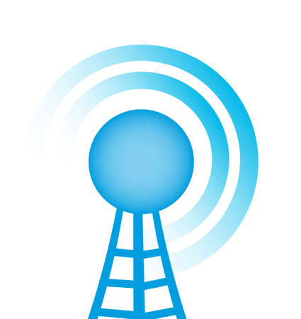 wireless tower: blue tower with radio close up over white background vector