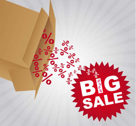 red big sale tag with box over gray background. vector Vector
