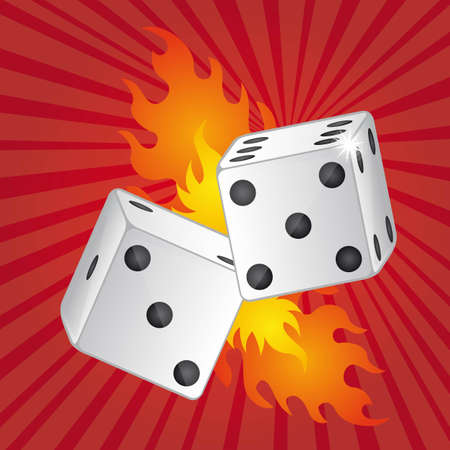 stake: two dices with fire over red background vector illustration
