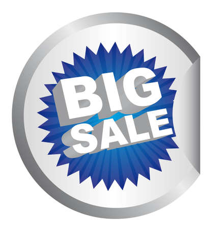 blue big sale tag over circle sticker isolated vector illustration Stock Vector - 11891638