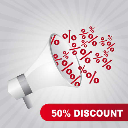 megaphone with red percent over gray background. vector Vector