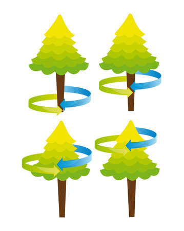 cute trees with arrow around isolated over white background vector Vector