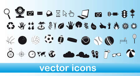 white and black icons over blue background vector illustration Vector