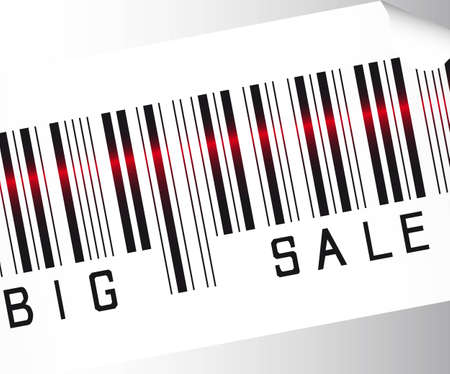 computerized: big sale bar code  over gray background vector. close up Illustration