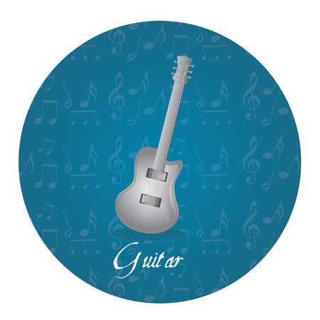 orchestration: silver guitar over circle tag isolated over white background. vector Illustration