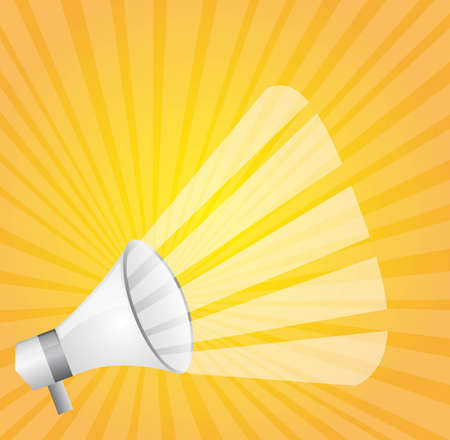 loudspeaker: white megaphone over yellow background. vector illustration Illustration