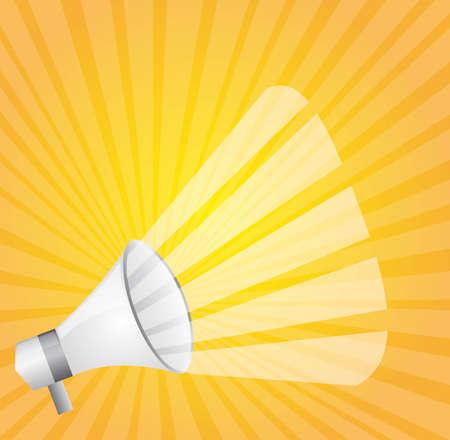 white megaphone over yellow background. vector illustration Vector