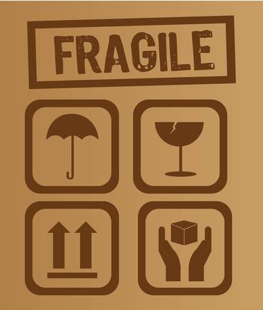 fragile: umbrella,glass, arrow and hands box signs vector illustration Illustration