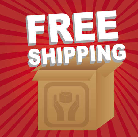 free shipping with box over red background. vector illustration Stock Vector - 11897214