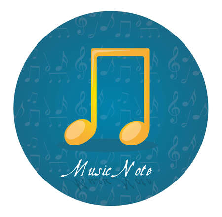 music 3d: yellow music note over blue circle tag isolated vector illustration