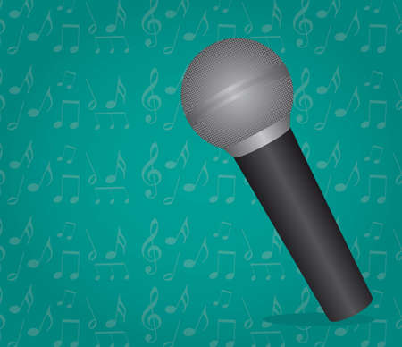 amplification: microphone over aquamarine background vector illustration