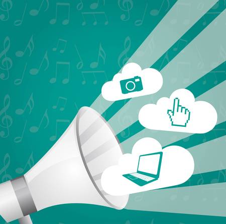 megaphone  with web signs over aquamarine background. vector Vector