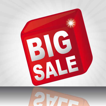 red cube big sale with shadow over white background. vector Vector