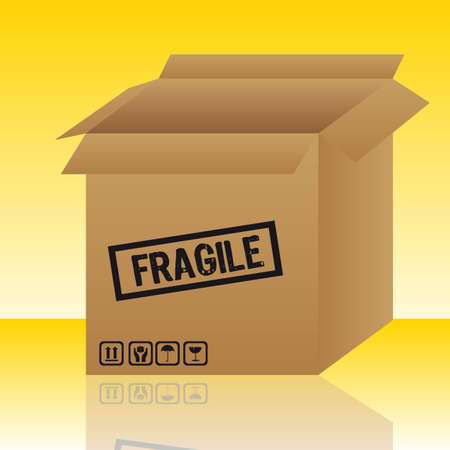 open box with signs over yellow background. vector illustration Stock Vector - 11897218