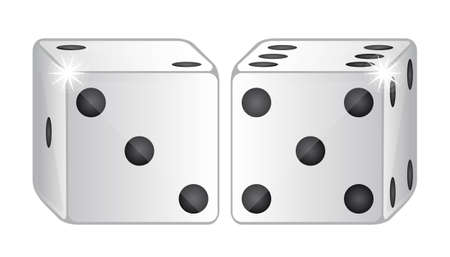 two dices isolated over white background. vector illustration Stock Vector - 11891577