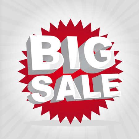 big deal: red big sale tag over gray background. vector illustration Illustration