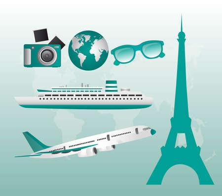 london street: aquamarine travel illustration over aquamarine background. vector