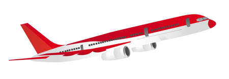 passenger: red and white aircraft isolated over white background. vector Illustration