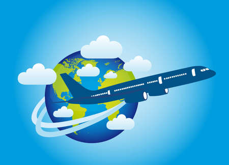 plane over planet with clouds over blue background. vector Stock Vector - 11897262