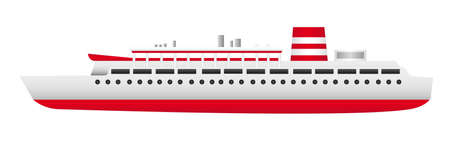 red and white ship isolated over white background. vector Vector