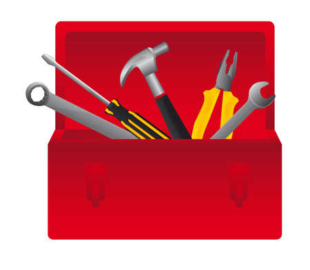 toolbox: Red tool box on white background, vector illustration Illustration