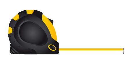 Medida de amarillo y negro cinta sobre fondo blanco, ilustración vectorial