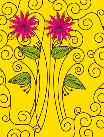 Flowers on yellow background with ornaments, vector illustration Stock Vector - 12136523