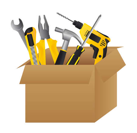 tools construction: Cardboard tool box on white background, vector illustration