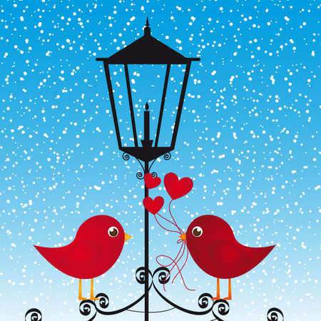 Two birds in love on black bluff, vector illustration Vector