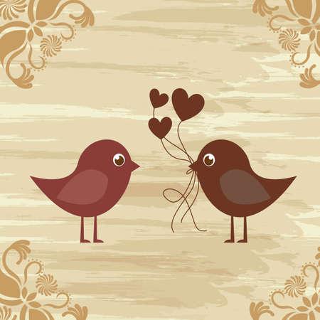 ornaments vector: Uccelli in amore su sfondo annata, vettore ornamenti sfondo