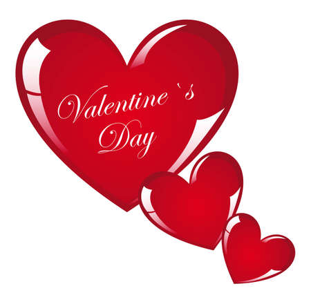 Red heart valentines day on white background, vector illustration Stock Vector - 12136718