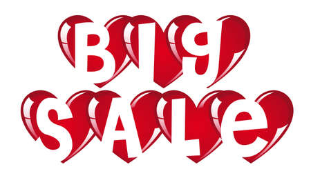 Red big sale hearts on white background, vector illustration Vector