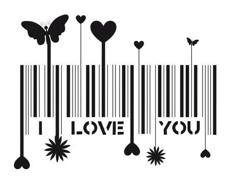 codes: Bar code with i love you message, vector illustration