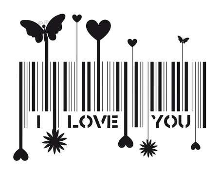 codigos de barra: De código de barras con el mensaje de te quiero, ilustración vectorial