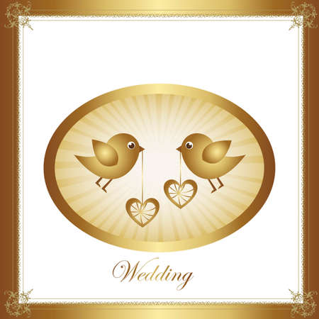 Couple of birds in love, gold illustration, vector graphic Stock Vector - 12136694