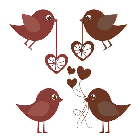 Birds and hearts on white background, vector illustration