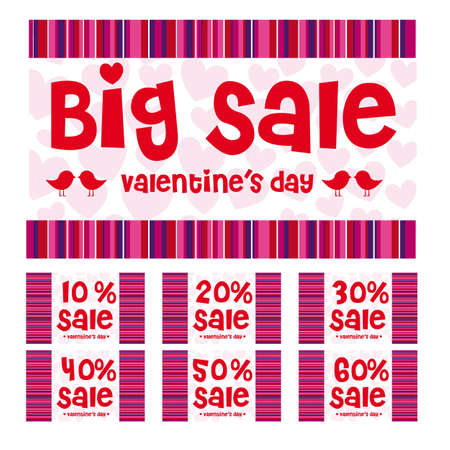 Valentines day big sale labels, red, pink and purple colors Stock Vector - 12136712